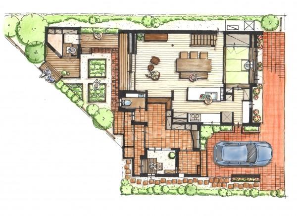 1階 広い土間と趣味の部屋 畳コーナーのあるLDK