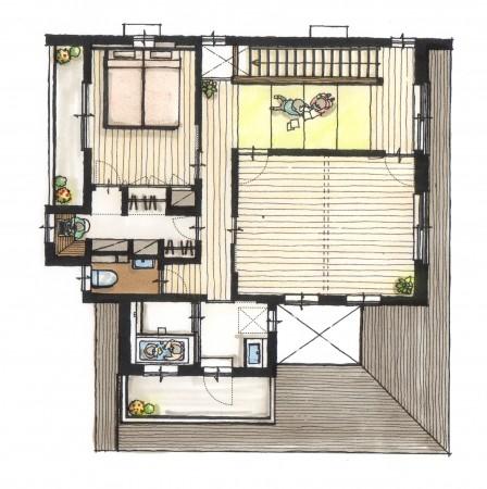 遊べる畳の廊下 2階バスルーム そこからつながるバルコニー