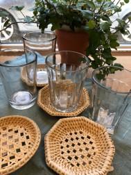 チャイグラスシングルカット 、チャイグラスノーマル  各¥600+税 籐茶托 丸 八角 各¥300+税