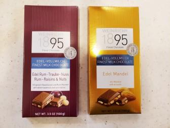 なめらかなミルクチョコレートと ナッツの食感が楽しめる2種。 ・ヘーゼルナッツ&ラムレーズン 350円(税別) ・アーモンド 350円(税別)